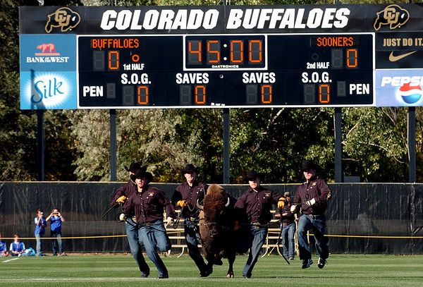 Ralphie the Buffalo runs before the CU-OU soccer game on Friday.<br /> Cliff Grassmick / October 2, 2009
