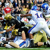 University of Colorado's Rodney Stewart (5) dives into the end zone during the game against the University of Kansas at Folsom Field in Boulder Saturday, Oct. 17, 2009. <br /> KASIA BROUSSALIAN / THE CAMERA