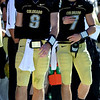 Tyler Hansen, left, and Cody Hawkins at the beginning of the second half of the Missouri game.<br /> Cliff Grassmick / October 31, 2009