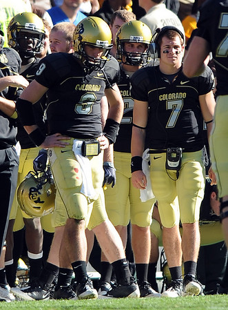 Tyler Hansen, left, and Cody Hawkins after a Hansen interception in the second half of the Missouri game.<br /> Cliff Grassmick / October 31, 2009