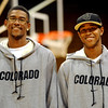 The CU brother combination Cory and Rick Higgins at CU basketball media day on Friday.<br /> Cliff Grassmick / October 16, 2009