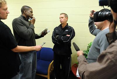 CU basketball coach Jeff Bzdelik talks to the press during CU media day on Friday. Cliff Grassmick / October 16, 2009