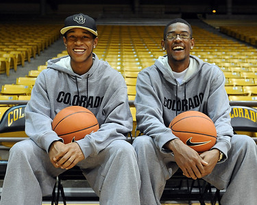 The CU brother combination Rick and Cory Higgins at CU basketball media day on Friday. Cliff Grassmick / October 16, 2009