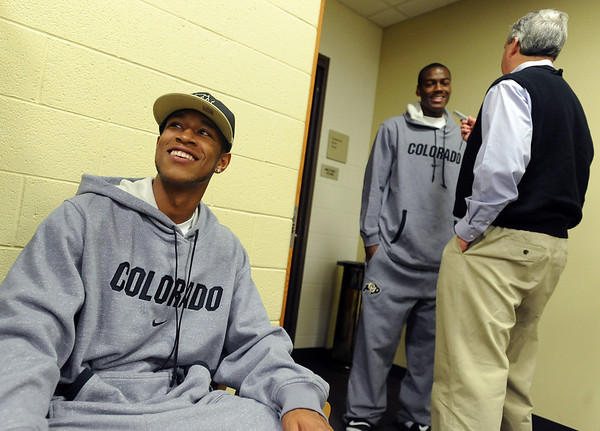 Rick Higgins, a new addition to the CU basketball team, waits to be photographed during media day on Friday.<br /> Cliff Grassmick / October 16, 2009