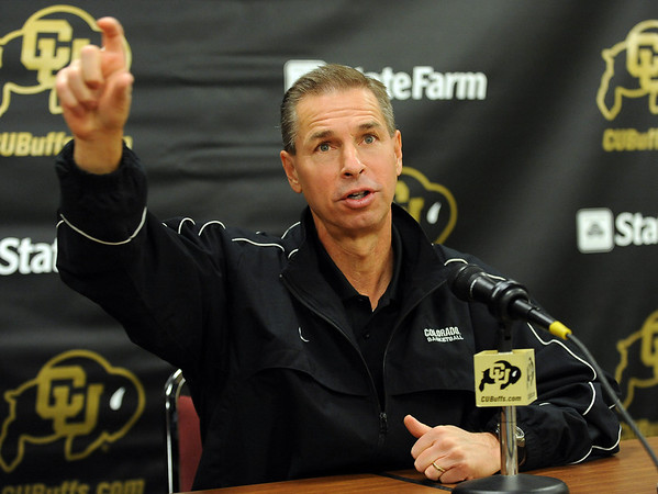 Colorado basketball coach Jeff Bzdelik talks during  the media day press conference on Friday.<br /> Cliff Grassmick / October 16, 2009