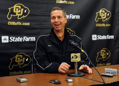 Colorado basketball coach Jeff Bzdelik has a laugh before  the media day press conference on Friday. Cliff Grassmick / October 16, 2009