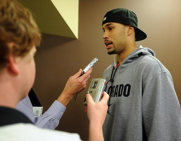 CU basketball player Marcus Relphorde talks to the media on Friday.<br /> Cliff Grassmick / October 16, 2009