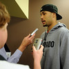 CU basketball player Marcus Relphorde talks to the media on Friday.<br /> Cliff Grassmick / October 16, 2009