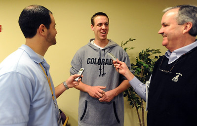 CU basketball player, Shane Harris-Tunks, talks to the media during basketball media day on Friday. Cliff Grassmick / October 16, 2009