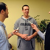 CU basketball player, Shane Harris-Tunks, talks to the media during basketball media day on Friday.<br /> Cliff Grassmick / October 16, 2009