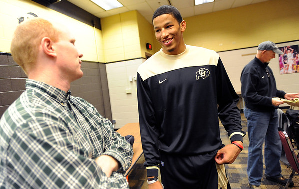"Andre Roberson talks to the press  during media day on Wednesday.<br /> For videos and photos of media day, go to  <a href=""http://www.dailycamera.com"">http://www.dailycamera.com</a><br /> Cliff Grassmick / October 26, 2011"