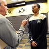 "Spencer Dinwiddie talks to the media on Wednesday.<br /> For videos and photos of media day, go to  <a href=""http://www.dailycamera.com"">http://www.dailycamera.com</a><br /> Cliff Grassmick / October 26, 2011"