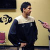 "New freshman, Askia Booker, talks to the press on basketball media day.<br /> For videos and photos of media day, go to  <a href=""http://www.dailycamera.com"">http://www.dailycamera.com</a><br /> Cliff Grassmick / October 26, 2011"