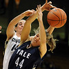 """Meagan Malcolm-Peck, left, of CU and Michelle Cashen of Yale battle for a rebound.<br /> For more photos of the game, go to  <a href=""""http://www.dailycamera.com"""">http://www.dailycamera.com</a>.<br /> Cliff Grassmick / January 4, 2010"""