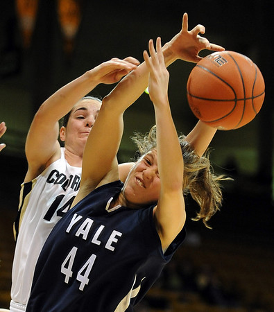 "Meagan Malcolm-Peck, left, of CU and Michelle Cashen of Yale battle for a rebound.<br /> For more photos of the game, go to  <a href=""http://www.dailycamera.com"">http://www.dailycamera.com</a>.<br /> Cliff Grassmick / January 4, 2010"