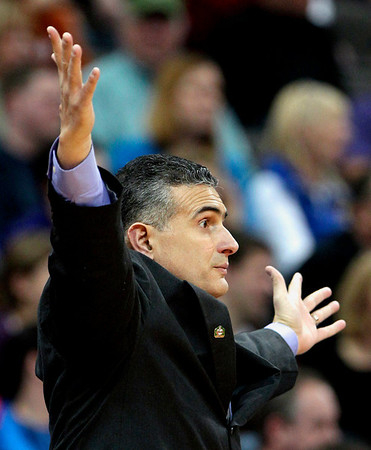 Kansas State coach Frank Martin reacts to a call during the second half of an NCAA college basketball game against Colorado in the Big 12 Men's Basketball tournament on Thursday, March 10, 2011, in Kansas City, Mo. Colorado won the game 87-75. (AP Photo/Charlie Riedel)