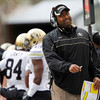 Colorado head coach Jon Embree reacts after a play during the first half of an NCAA college football game against Utah, Friday, Nov. 25, 2011, in Salt Lake City. Colorado won 17-14. (AP Photo/Jim Urquhart)