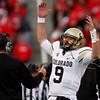 Colorado quarterback Tyler Hansen (9) celebrates after a play during the second half of an NCAA college football game against Utah, Friday, Nov. 25, 2011, in Salt Lake City. Colorado won 17-14. (AP Photo/Jim Urquhart)