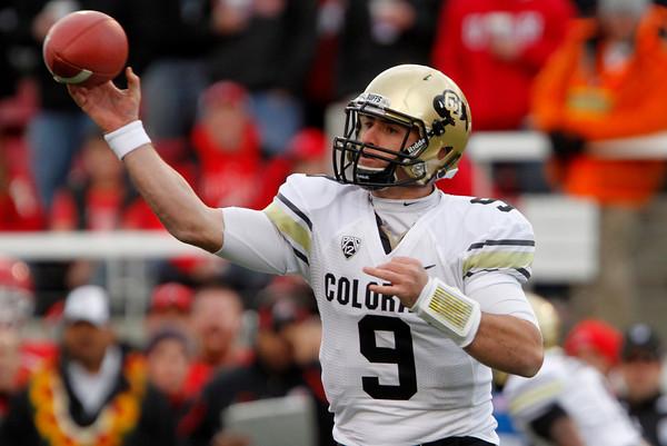 Colorado quarterback Tyler Hansen (9) makes a pass during the first half of an NCAA college football game against Utah, Friday, Nov. 25, 2011,in Salt Lake City. (AP Photo/Jim Urquhart)