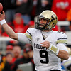 Colorado quarterback Tyler Hansen (9) makes a pass during the first half of an NCAA college football game against Utah, Friday, Nov. 25, 2011, in Salt Lake City. (AP Photo/Jim Urquhart)