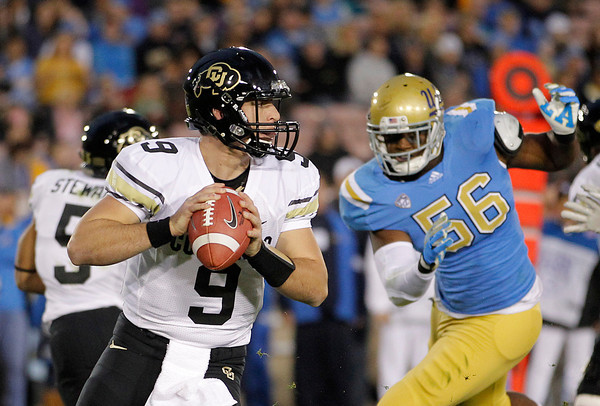 Colorado quarterback Tyler Hansen (9) looks to pass during the first half of an NCAA college football game against UCLA at the Rose Bowl in Pasadena, Calif., Saturday, Nov. 19, 2011. (AP Photo/Jae Hong)