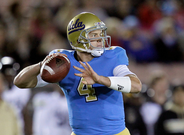 UCLA quarterback Kevin Prince looks to pass during the first half of an NCAA college football game against Colorado at the Rose Bowl in Pasadena, Calif., Saturday, Nov. 19, 2011. (AP Photo/Jae Hong)