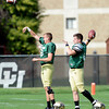 "Quarterbacks Stevie Joe Dorman, 918) at left, and Jordan Webb (4) make practice throws during the University of Colorado football team practice on Monday August 20, 2012. <br /> For more photos go to  <a href=""http://www.buffzone.com"">http://www.buffzone.com</a><br /> Photo by Paul Aiken / The Boulder Camera"