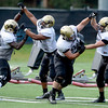 "From left to right Chidera Uzo-Direbe (98) Kirk Poston (91) Tyler Henington (94) and Thor Eaton (92) work on a block evading drill during the University of Colorado football team practice on Monday August 20, 2012. <br /> For more photos go to  <a href=""http://www.buffzone.com"">http://www.buffzone.com</a><br /> Photo by Paul Aiken / The Boulder Camera"