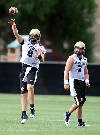 Quarterback Nick Hirschman during the first fall football practice for the University of Colorado football team. August 5, 2010<br /> Photos by Mark Leffingwell / The Camera