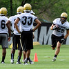 0805cufb189.JPG #29  Justin Torres, moves in running drills during the CU football practice on Thursday, Aug. 5.<br /> Jeremy Papasso/ Camera