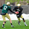 """Quarterback Stevie Joe Dorman (12) works on handing off during the University of Colorado football team practice on the CU Boulder Campus on  Tuesday April 3, 2012.<br /> For more photos of the practice go to  <a href=""""http://www.buffzone.com"""">http://www.buffzone.com</a><br /> Photo by Paul Aiken / The Camera"""