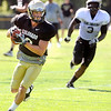 "Logan Gray, 2, heads downfield after making a catch during the University of Colorado Buffalos  Monday August 15 practice. FOR MORE PHOTOS AND VIDEO INTERVIEWS FROM THE PRACTICE GO TO  <a href=""http://WWW.BUFFZONE.COM"">http://WWW.BUFFZONE.COM</a> OR  <a href=""http://WWW.DAILYCAMERA.COM"">http://WWW.DAILYCAMERA.COM</a><br /> Photo by Paul Aiken / The Camera / 8/ 15/ 11"