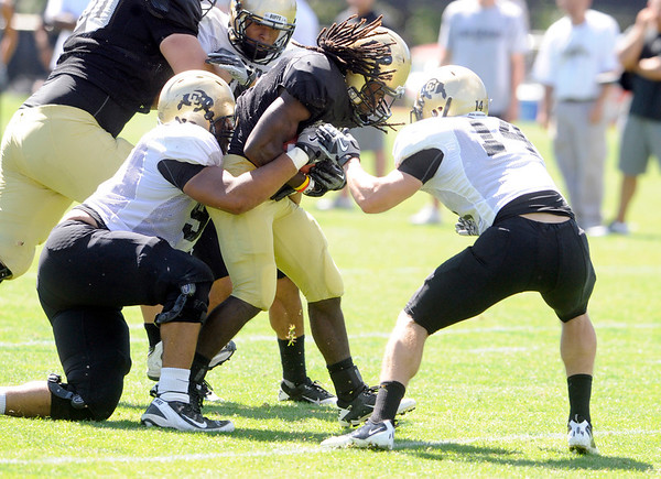 "D.D. Goodson, 21, is wrapped up by  Kirk Poston, 91 and Justin Gorman, 14, during the University of Colorado Buffalos  Monday August 15 practice. FOR MORE PHOTOS AND VIDEO INTERVIEWS FROM THE PRACTICE GO TO  <a href=""http://WWW.BUFFZONE.COM"">http://WWW.BUFFZONE.COM</a> OR  <a href=""http://WWW.DAILYCAMERA.COM"">http://WWW.DAILYCAMERA.COM</a><br /> Photo by Paul Aiken / The Camera / 8/ 15/ 11"