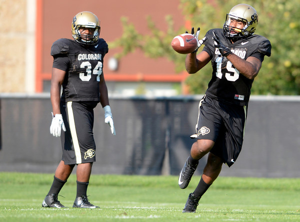 "University of Colorado's Davien Payne catches a pass during fall football camp at the CU practice field on Wednesday, Aug. 8. For more photos of the practice go to  <a href=""http://www.dailycamera.com"">http://www.dailycamera.com</a><br /> Jeremy Papasso/ Camera"