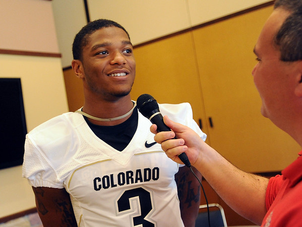 Jimmy Smith talks to the press on Saturday.<br /> Cliff Grassmick / August 7, 2010