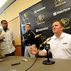 University of Colorado football coach, Dan Hawkins talks to the press during CU media day on Saturday.<br /> Cliff Grassmick / August 7, 2010