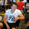 Nate Solder talks to the media on Saturday.<br /> Cliff Grassmick / August 7, 2010