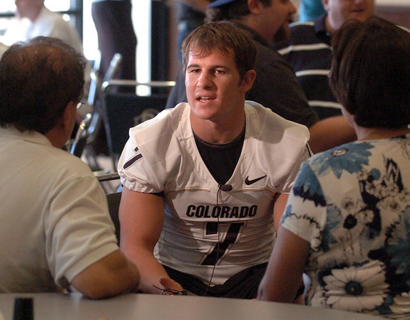 Cody Hawkins at CU media day on Saturday.<br /> Cliff Grassmick / August 7, 2010