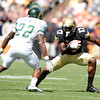 "University of Colorado's Toney Clemons tries to juke Elijah-Blu Smith during a football game against Colorado State University on Saturday, Sept. 17, at Sports Authority Field in Denver. CU defeated Colorado State 28-14. For more photos of the game go to  <a href=""http://www.dailycamera.com"">http://www.dailycamera.com</a><br /> Jeremy Papasso/ Camera"