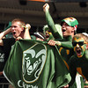 "Colorado State University junior Jesse Jankowski, at right, senior Noah Sandoval, senior Brent Brady and sophomore Chris Thomas show their school spirit at the start of the football game against the University of Colorado on Saturday, Sept. 17, at Sports Authority Field in Denver. CU defeated CSU 28-14. For more photos of the game go to  <a href=""http://www.dailycamera.com"">http://www.dailycamera.com</a><br /> Jeremy Papasso/ Camera"