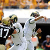 "Colorado State University quarterback Pete Thomas throws a pass during a football game against the University of Colorado on Saturday, Sept. 17, at Sports Authority Field in Denver. CU defeated CSU 28-14. For more photos of the game go to  <a href=""http://www.dailycamera.com"">http://www.dailycamera.com</a><br /> Jeremy Papasso/ Camera"