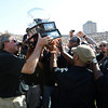 "Former CU coach Gary Barnett presents the 2001 BIG 12 trophy to that team during halftime.<br /> For more photos of the CU game, go to  <a href=""http://www.dailycamera.com"">http://www.dailycamera.com</a>.<br /> Cliff Grassmick / September 10, 2011"