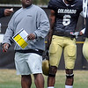 "Eric Bieniemy works with the offense on Saturday.<br /> For more photos and a video of Embree, go to  <a href=""http://www.dailycamera.com"">http://www.dailycamera.com</a>.<br /> Cliff Grassmick/ April 2, 2011"