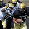 "Doug Rippy zeros in on Ryan Deehan during the scrimmage on Saturday.<br /> For more photos and a video of Embree, go to  <a href=""http://www.dailycamera.com"">http://www.dailycamera.com</a>.<br /> Cliff Grassmick/ April 2, 2011"