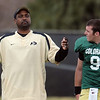 """Colorado football coach, Jon Embree, works with Tyler Hansen during the scrimmage on Saturday.<br /> For more photos and a video of Embree, go to  <a href=""""http://www.dailycamera.com"""">http://www.dailycamera.com</a>.<br /> Cliff Grassmick/ April 2, 2011"""