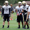 "Parker Orms, left, Terrel Smith and Ray Polk during CU football practice on Thursday.<br /> For more photos and videos of practice,  go to  <a href=""http://www.dailycamera.com"">http://www.dailycamera.com</a>.<br /> Cliff Grassmick / August 16, 2012"