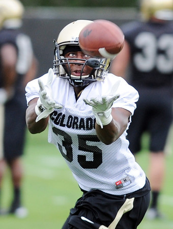 """Brandon Brisco  during DB drills on Thursday.<br /> For more photos and videos of practice,  go to  <a href=""""http://www.dailycamera.com"""">http://www.dailycamera.com</a>.<br /> Cliff Grassmick / August 16, 2012"""