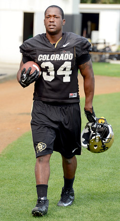 """Terrence Crowder finishes up the morning practice on Thursday.<br /> For a video and more photos of CU football, go to  <a href=""""http://www.dailycamera.com"""">http://www.dailycamera.com</a>.<br /> Cliff Grassmick  / August 16, 2012"""