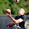 "WR Dustin Ebner juggles at practice on Aug. 17, 2012.<br /> For more photos and videos of practice,  go to  <a href=""http://www.dailycamera.com"">http://www.dailycamera.com</a>.<br /> Cliff Grassmick / August 17, 2012"