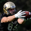 "University of Colorado's Austin Ray makes a catch during the second football practice of the fall camp on Tuesday, Aug. 7, at the CU practice field in Boulder. For more photos of the practice go to  <a href=""http://www.dailycamera.com"">http://www.dailycamera.com</a><br /> Jeremy Papasso/ Camera"